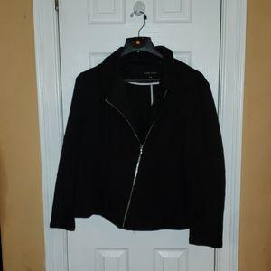 Black moto style horizontal zip up jacket